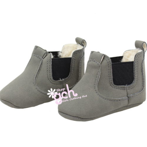 Ash Gray Fur-lined Boots