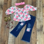Pink & Leopard Heart Distressed Jeans Outfit